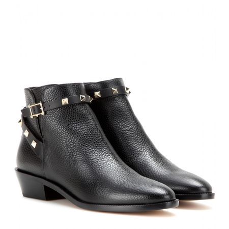 Valentino Rockstud Leather Ankle Boots gray