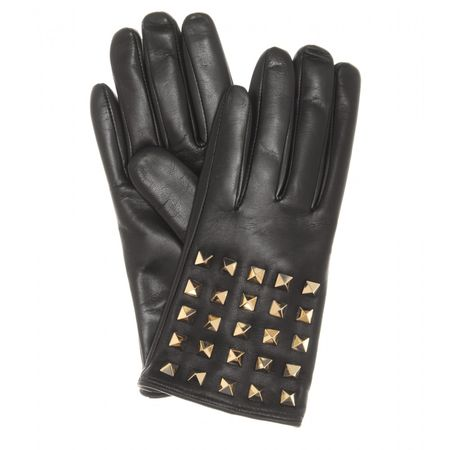 Valentino Rockstud Leather Gloves gray