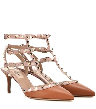 Valentino Rockstud Leather Kitten-heel Pumps brown