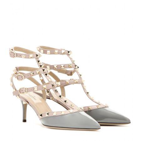 Valentino Rockstud Leather Kitten-heel Pumps gray