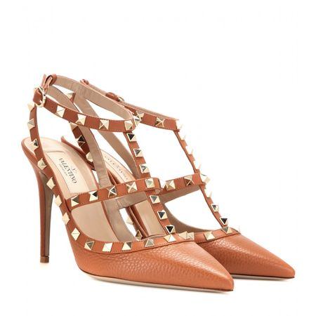 Valentino Rockstud Leather Pumps brown