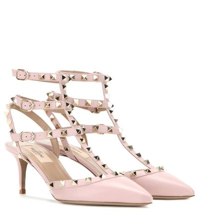 Valentino Rockstud Leather Pumps gray