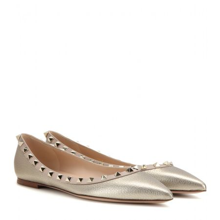 Valentino Rockstud Metallic Leather Ballerinas gray