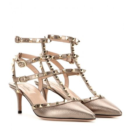 Valentino Rockstud Metallic Leather Kitten-heel Pumps gray