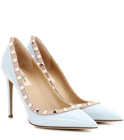 Valentino Rockstud Patent Leather Pumps brown