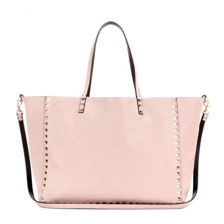 Valentino Rockstud Reversible Leather Shopper gray