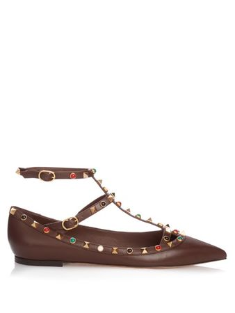 Valentino Rolling Rockstud leather flats brown