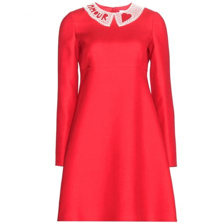 Valentino Wool And Silk-blend Crepe Dress red
