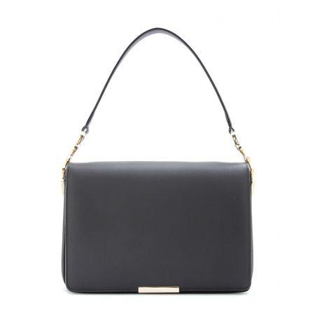 Victoria Beckham V Link Leather Shoulder Bag gray