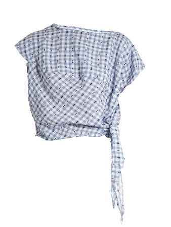 Vivienne Westwood Anglomania Balloon short-sleeved gingham blouse