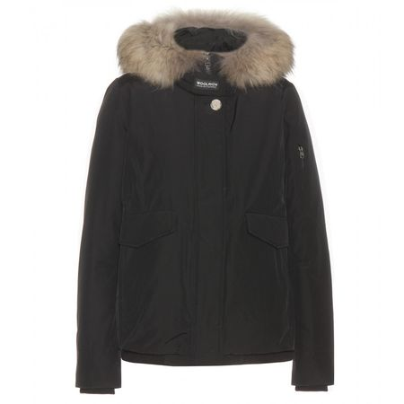 Woolrich Campton Cotton-blend Fur-trimmed Jacket black