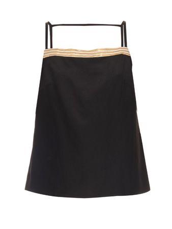 Zeus+Dione Jacquard-trimmed silk-crepe cami top black